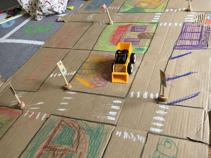Indoor fun: making a cardboard city