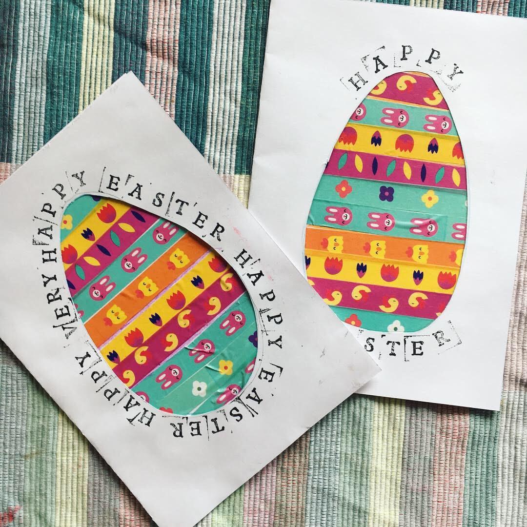 easter craft  kids Washi tape card